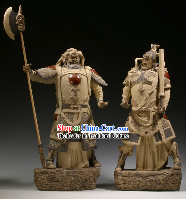 Chinese Classic Shiwan Ceramics Statue Arts Collection - Door God (Pair)