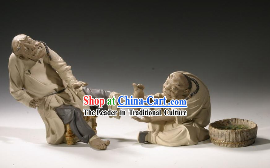 Chinese Classic Shiwan Ceramics Statue Arts Collection - Massage