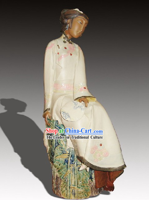 Chinese Classic Shiwan Ceramics Statue Arts Collection - Watching Flower in Sunset