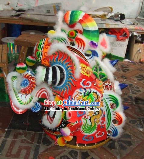 Supreme Chinese Traditional Kylin Dance Costumes Complete Set with Dragons Painting