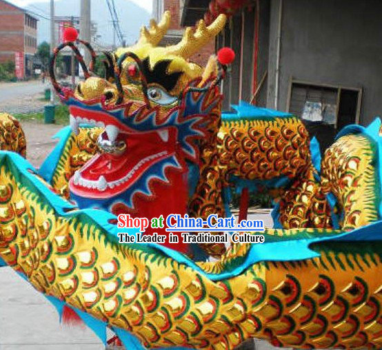 Professional Performance Golden Armor Flame Dragon Dance Costumes Complete Set