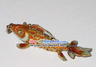 Chinese Traditional Cloisonne Silver Handicraft- Orange Goldfish