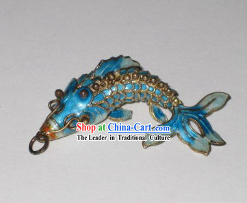 Chinese Traditional Cloisonne Silver Handicraft- Blue Goldfish
