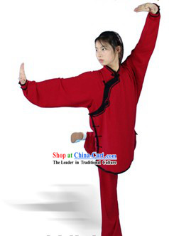 Chinese Traditional Silk and Cotton Kung Fu Uniform for Women with Lute Button