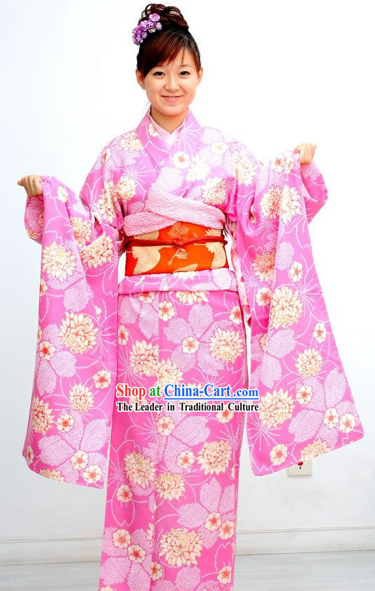 Traditional Pink Flowery Japanese Kimono Handbag and Geta Complete Set
