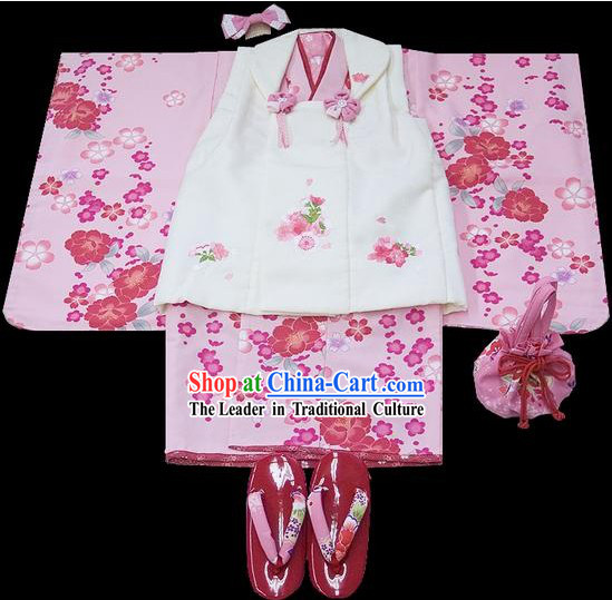 Supreme Traditional Japanese Kimono 7 Pieces Full Set for Three Years Girl