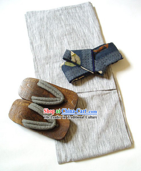 Traditional Japanese Kimono and Geta Full Set for Men
