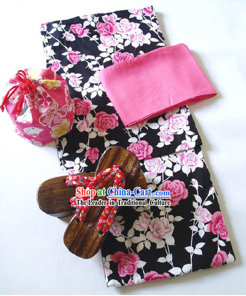 Traditional Japanese China Rose Kimono Handbag and Geta Full Set