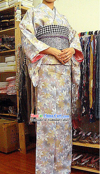 Traditional Japanese Leaf Kimono and Belt Full Set