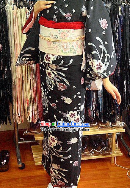 Traditional Japanese Black Flowery Kimono and Belt Full Set
