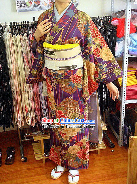 Traditional Japanese Hundred Flowers Kimono Handbag and Geta Set