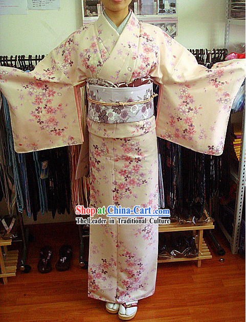 Traditional Japanese Oriental Cherry Kimono and Belt Complete Set