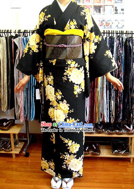 Traditional Japanese Black Peony Kimono and Belt Set
