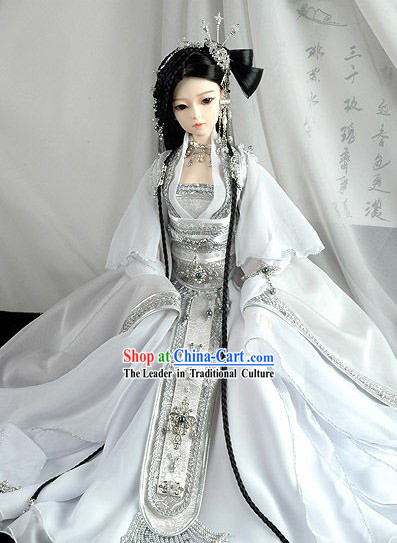 Supreme Chinese BJD Costume White Wedding Bride Veil Clothing, Wig and Hair Decoration Complete Set