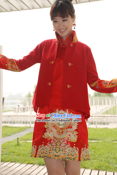Traditional Handmade Mandarin Blouse with Embroidery Sleeve