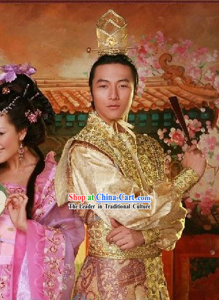 Chinese Ancient Prince Costumes and Hat Complete Set
