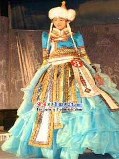 Chinese Romantic Blue Mongolian Long Robe and Hat Complete Set for Women
