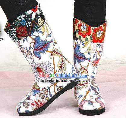 Handmade Flower Embroidery Boots