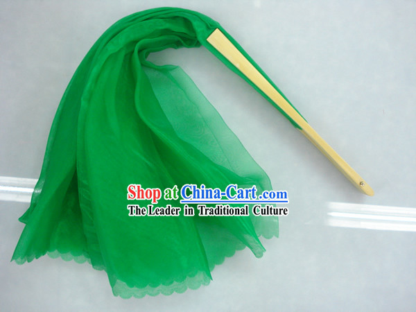 Chinese Traditional Green Silk Dance Fan