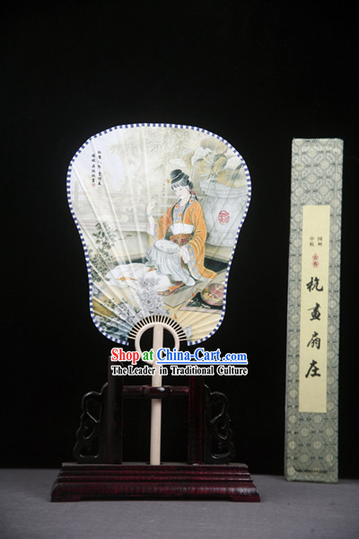 Chinese Handmade Palace Fan with Fan Base - Ancient Beauty