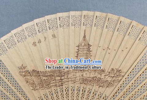 Supreme Chinese Traditional Sandalwood Fan - Xi Lake Poem