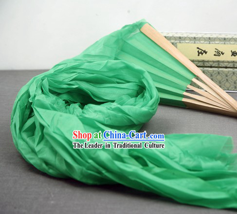 59 Inch Long Pure Silk Green Dance Ribbon Fan