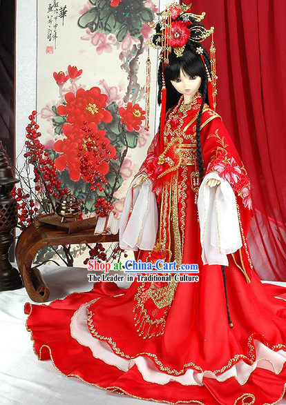 Traditional Chinese Prince Wedding Costumes Complete Set for Bride