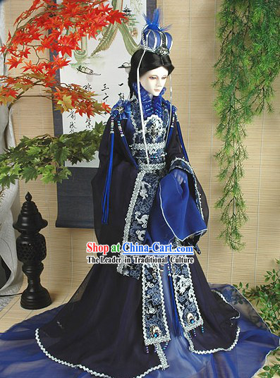 Chinese Ancient Palace Emperor Costume and Hat Complete Set