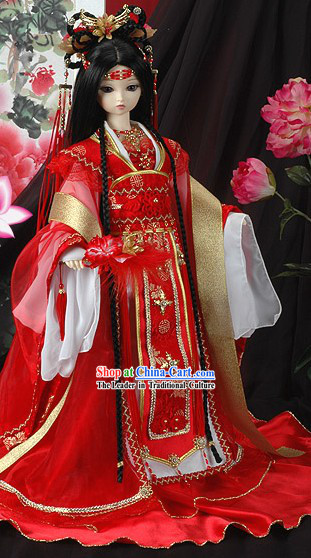 Chinese Classical Lucky Red Princess Wedding Costumes Complete Set for Women