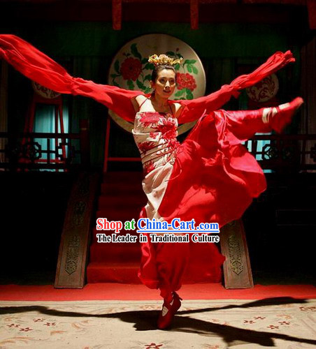 Red Silk Watersleeve Dance Costume