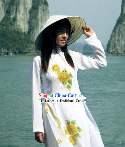Vietnamese Traditional Long Cheongsam and Bamboo Hat Set