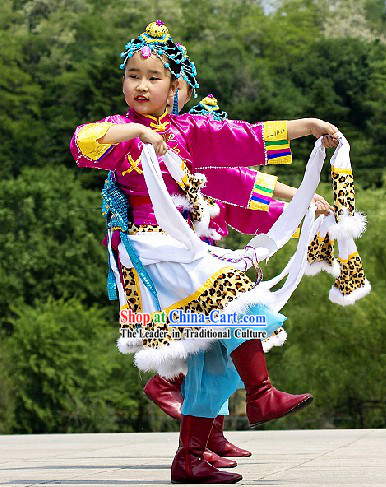 Chinese Traditional Tibetan Kids Dance Costumes Complete Set