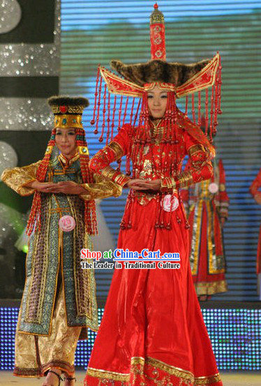 Chinese Traditional Mongolian Wedding Dress Complete Set