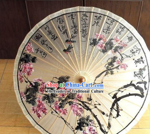 Chinese Hand Painted Flower Paper Rain Umbrella