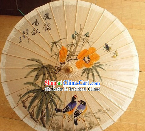 Chinese Painted Birds Paper Umbrellas