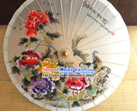 Chinese Hand Painted Mandarin Duck and Peony Umbrella