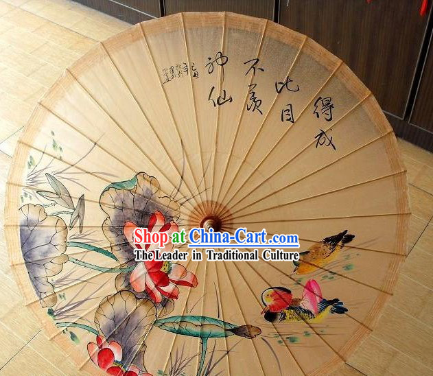 Chinese Painted Mandarin Duck and Peony Painting Umbrellas