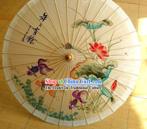 Chinese Hand Painted Goldfish and Lotus Umbrella