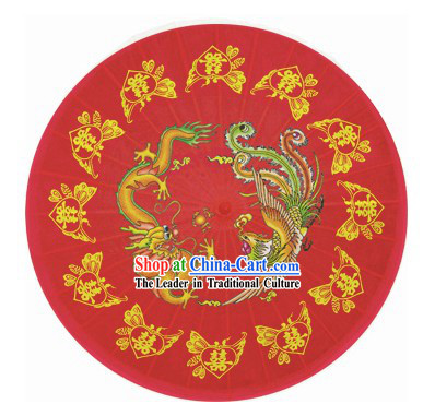 40 Inch Large Chinese Traditional Phoenix and Dragon Wedding Umbrella