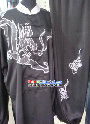 Chinese Professional Black Dragon Sifu Tai Chi Uniform for Men