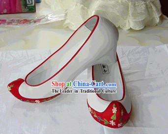 Traditional Embroidered White Korean National Shoes / Children Korean Shoes