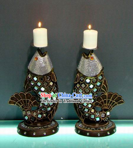 Southeast Asia Thai Arts Fish Candlestick