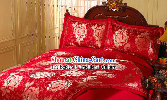 Chinese Lucky Red Qulit Cover and Sheet Cover Wedding Bed Set
