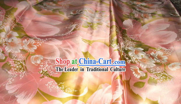 Romantic Pink Flower Silk Fabric