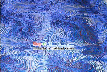 Blue Phoenix Tail Silk Fabric