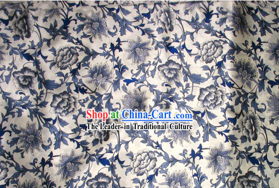 100_ Pure White and Blue Procelain Silk Fabric
