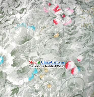 Chinese Traditional Floral Pure Silk Fabric