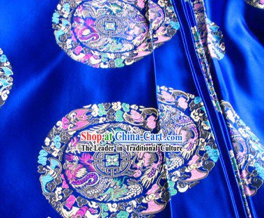 Chinese Dragon Flower Silk Fabric
