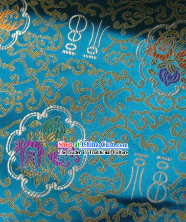 Light Blue Lucky Fu and Flower Silk Fabrics