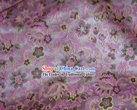 Chinese Flower Pink Silk Fabric